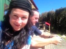 Neil & I at Pahautea Hut - The brand new one!