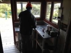 Neil making breakfast.