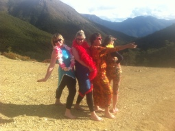NZ's most flambouyant hut visitors!! Great bunch!!